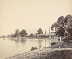 View towards Takht-i-Sulaiman from the bank of the River Jhelum at Pandrethan, near Srinagar